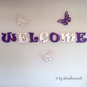 Welcome Holzbuchstaben Haustüre